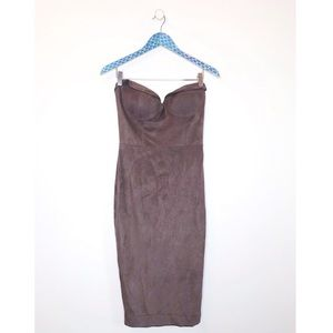 House Of CB London Faux Suede Strapless Midi Dress
